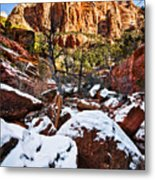 Snow In The Canyons Metal Print