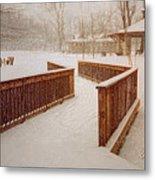 Snow In The Park 3d Metal Print