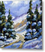 Snow Laden Pines Metal Print