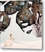 Snow Ledges Rabbit Metal Print