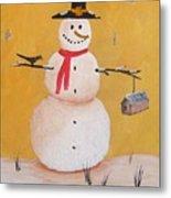 Snow Man And Bird House Metal Print