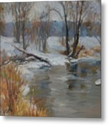 Snow Melting Metal Print
