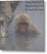 Snow Monkey Onsen - Haiku Metal Print