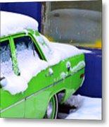 Snow On Car Metal Print