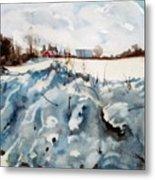 Snow On Southwick Metal Print by Elizabeth Carr
