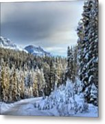 Snow On The Bow Valley Parkway Metal Print