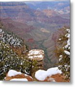 Snow On The Grand Canyon Metal Print