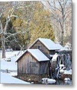 Snow On The Mill Metal Print