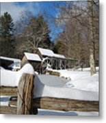 Snow On The Old Time Mill Metal Print