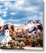 Snow On The Superstitions Metal Print