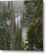 Snow On The Yellowstone River Metal Print