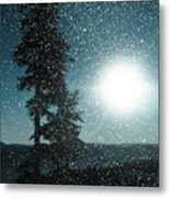 Snow Particles Back Light Metal Print