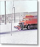 Snow Plow In Business Park 1 Metal Print