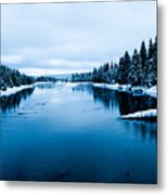 Snow River Horizon Metal Print