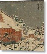 Snow Scene At Sens Ji Temple At Kinry Zan In The Eastern Capital Metal Print