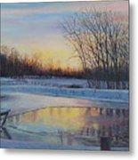 Snow Scene At Sunset Metal Print