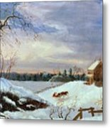Snow Scene In New England Metal Print by American School