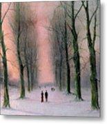 Snow Scene Wanstead Park   Metal Print by Nils Hans Christiansen