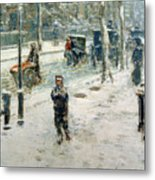 Snow Storm On Fifth Avenue Metal Print