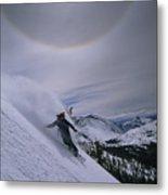 Snowboarding Down A Peak In Yosemite Metal Print