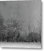 Snowfall At Night Metal Print