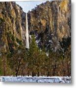 Snowfall Bridalveil Falls Metal Print