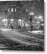 Snowfall In Harvard Square Cambridge Ma 2 Black And White Metal Print