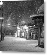 Snowfall In Harvard Square Cambridge Ma Kiosk Black And White Metal Print