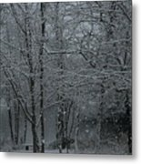 Snowfall On The Creek Metal Print