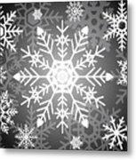 Snowflakes Black And White Metal Print