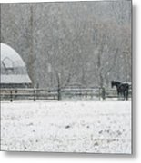 Snowing At The Round Barn Metal Print