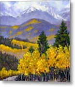 Snowing In The Mountains Metal Print