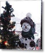Snowman And Tree Pa Metal Print