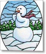 Snowman Flutist Metal Print