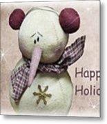 Snowman Greeting Card Metal Print