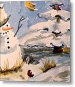 Snowman Hug Metal Print