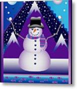 Snowman Juggler Metal Print