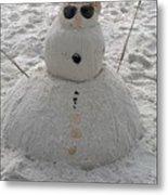 Snowman On The Beach Metal Print
