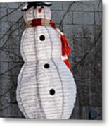 Snowman On The Roof Metal Print