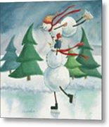 Snowmen Skating Metal Print