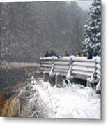 Snowstorm At The Falls Metal Print