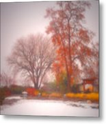 Snowstorm In The Japanese Gardens Metal Print