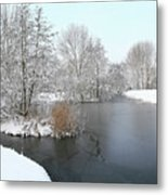 Chilled Scenery Around Frozen Canals Metal Print