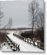Snowy Bridge Metal Print