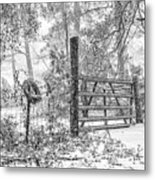 Snowy Cattle Gate Metal Print