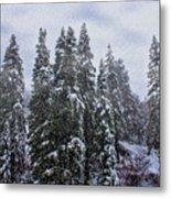 Snowy Christmas At Big Bear Lake Metal Print