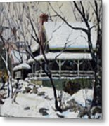 Snowy Cottage Metal Print