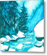 Snowy Creek Banks Metal Print