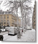 Snowy Day In Paris Metal Print