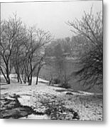 Snowy Day On Redd's Pond And Old Burial Hill Metal Print